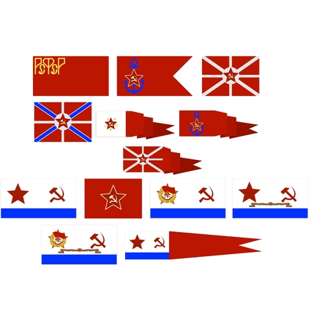 Flags and pennants Soviet Navy. The illustration on a white background.