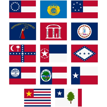 Flags of the Confederate States of America. The American Civil War (1861-1865 year). The illustration on a white background.