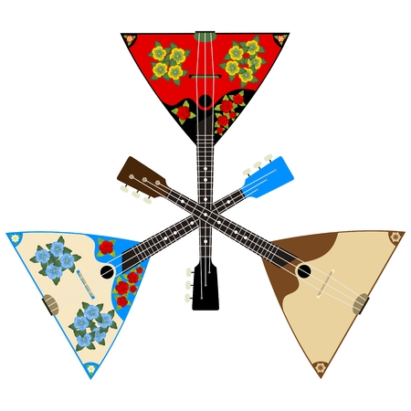 Russian folk musical instruments. The illustration on a white background.