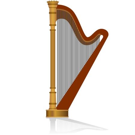 Strumento musicale arpa. L'illustrazione su uno sfondo bianco.
