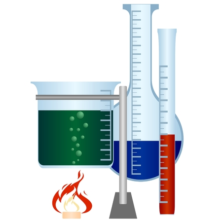 Chemicals and chemical glassware. The illustration on a white background.