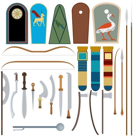 エジプトの武器のコレクションです。白い背景のイラスト。