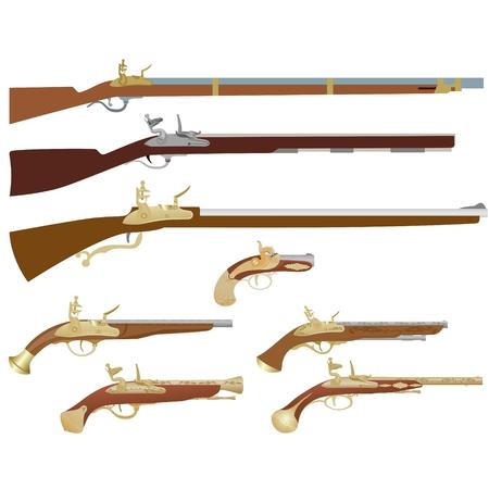 Armes à feu, mousquets et pistolets antiques. L'illustration sur un fond blanc.
