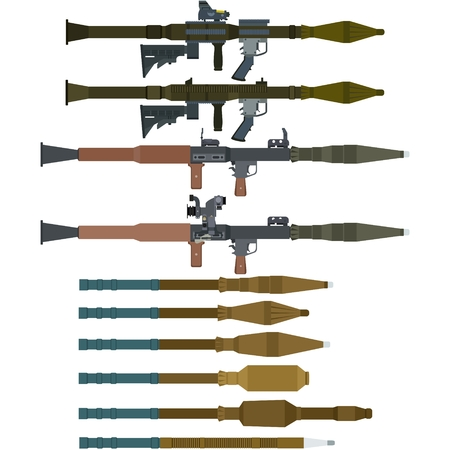 Soviet and Russian rocket launchers and grenades for RPG-7. The illustration on a white background.