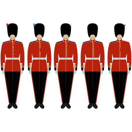 Soldiers of the Royal British Guard. The illustration on a white background.