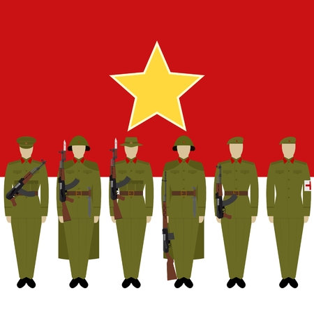 Soldiers of Vietnamese Army against the background of the flag of Vietnam. The illustration on a white background. Illustration