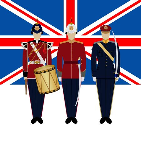 Flag of Great Britain and soldiers in the uniform of the British Army. The illustration on a white background.