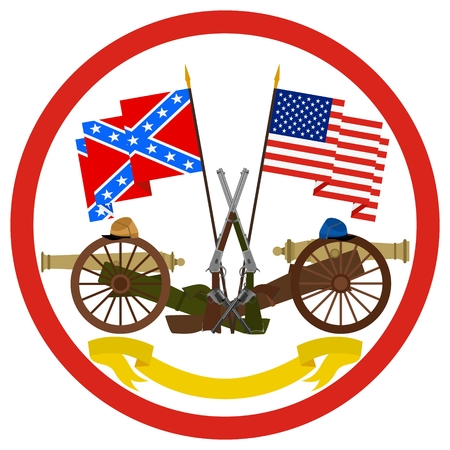 Icon with flags CSA and the US weapons were used in the Civil War in America. The illustration on a white background.