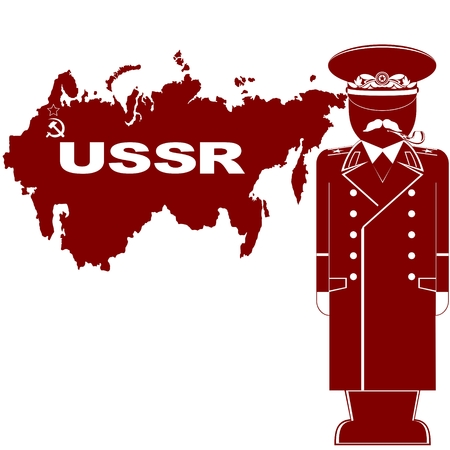 Stalin against the backdrop of the USSR. The illustration on a white background.