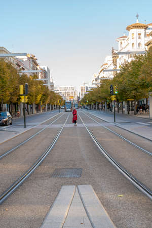 ZARAGOZA, SPAIN, 11/10/2020, view of the Paseo de la Independencia boulevard with the trams with Plaza España at the end in the city of Zaragoza. Sajtókép