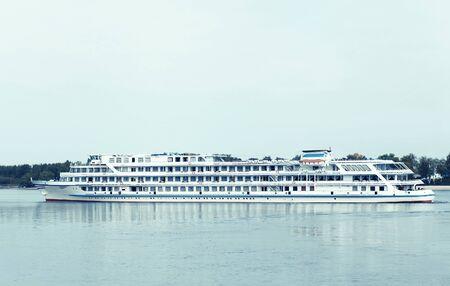 afloat: Pastel photo panorama of the passenger ship afloat