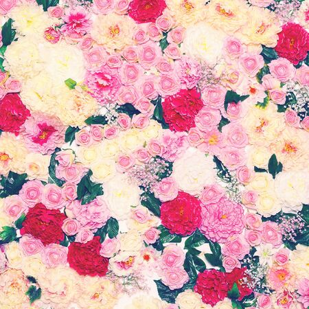pastel colour: Background of many flowers, gentle pastel toned colors photo Stock Photo