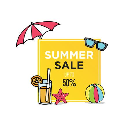 Simple minimalist summer sale banner template