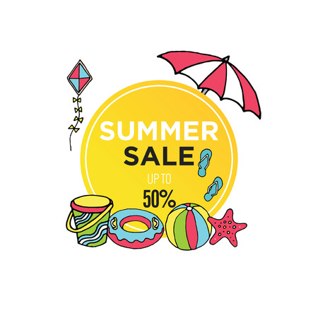 Simple minimalist summer sale banner template