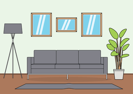 Simple and minimalist template of living room vector 向量圖像