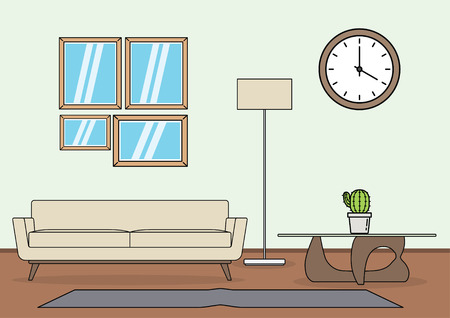 Simple and minimalist template of living room vector Ilustração