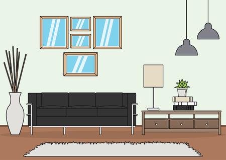 Simple and minimalist template of living room vector Ilustrace