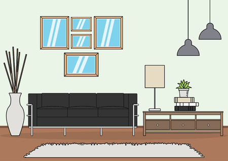 Simple and minimalist template of living room vector Illustration