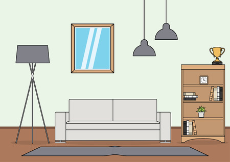 Simple and minimalist template of living room vector 矢量图像