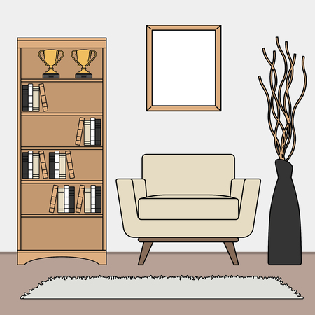 Hand drawn living room vector