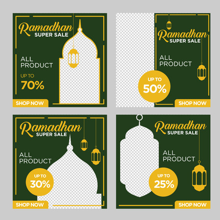 Template sets of ramadan square banner