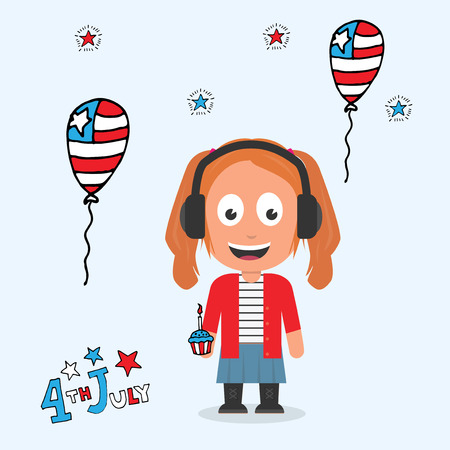 Mascot character with 4th July concept theme