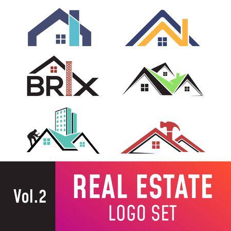 Satz von Immobilienvorlagen, geeignet für Immobilien, Immobilien, Dächer und Bauunternehmen.