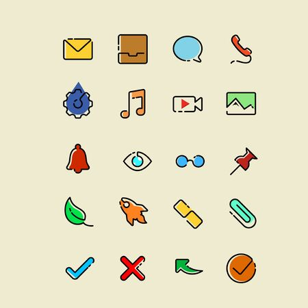 Single line icons set with some color detailing and accent
