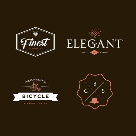 Sets of vintage badge logo template with simple and minimalistic style 矢量图像