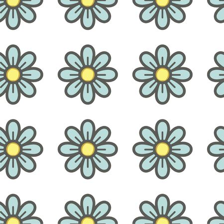 Blue themed floral seamless texture for background