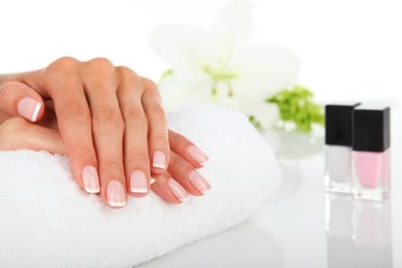 指の爪のマニキュア 写真素材
