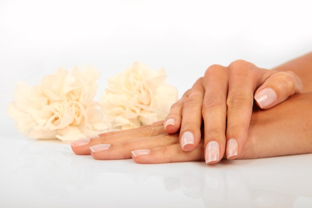 manicure hand: Woman in a nail salon receiving a manicure