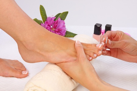 pedicure: Beauty treatment photo of nice pedicured feet