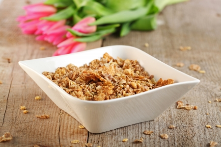 Table Breakfast - Continental Breakfast - muesli  Stock Photo