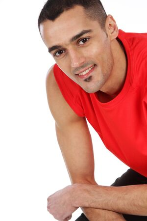 Sport and Fitness - Happy man after workout photo