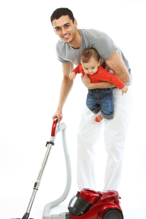 Baby and Father - Housework photo
