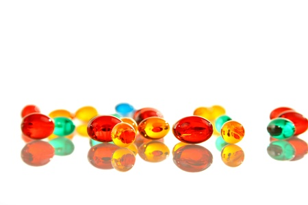 Gel pills on white background