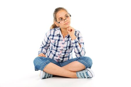 Girl with glasses - isolated on white
