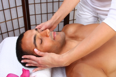 Young man receiving massage - SPA photo