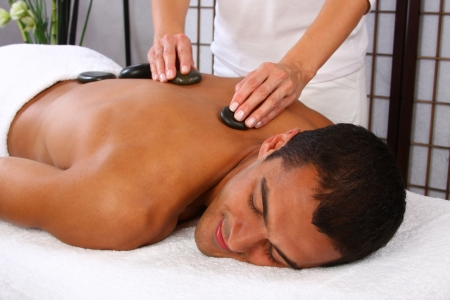Young man receiving massage - SPA