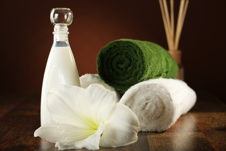Spa Concept - lotion, soap and towels