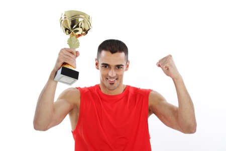 Sport and Fitness - Young athleteholding a cup
