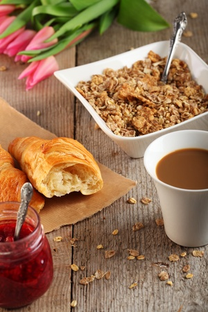 caffee: Table Breakfast - Continental Breakfast - muesli Stock Photo