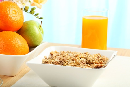 Table Breakfast - Continental Breakfast, fruit, cereals, orange juice