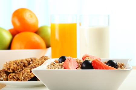 Table Breakfast - Continental Breakfast, fruit, cereals, orange juice and milk