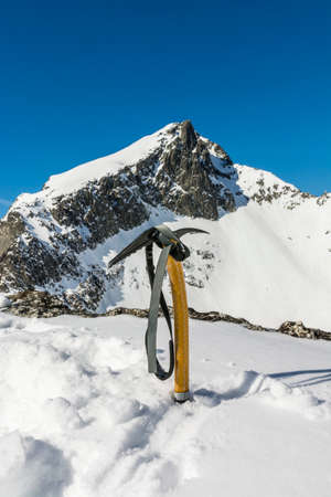 ice axe: Ice axe in the mountains