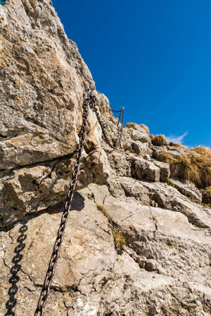insured: Exposed and difficult trails are insured chains in the mountains