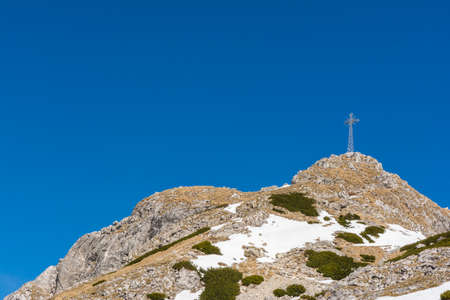 frequented: Popular tourist peak with a cross in the Polish Tatras - Giewont