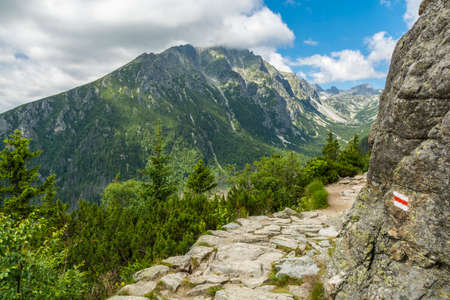 alpine zone: Hiking trail in the Tatra mountains in Slovakia so-called Magistrala Tatrzanska (Tatranska magistrala, Turisticka magistrala)