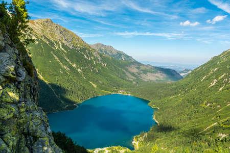 oko: Pond - Sea Eye (Morskie Oko, Morske oko), a popular excursion destination mountain in Poland Stock Photo